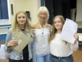 Pictured with Spalding Academys' head of English, Mrs Nikki Fitzgibbon are Rebecca Jameson (right) who is going to study psychology and sociology at Bourne Academy after hitting her target grades and Wiktoria Kapusta whose grades included two eights and three sevens and who is also going to study sociology A Levels at Bourne as wel as RE. Spalding Academy GCSE Results Day 2018