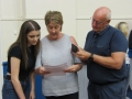 Lucy Twelves learns her GCSE results alongside delighted mum Marie Asher and Stuart Asher. Spalding Academy GCSE Results Day 2018