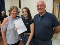 Lucy Twelves got one eight and two sevens as well as an A* in home economics and distinction * in health and social care. She's flanked by mum Marie Asher and Stuart Asher. Spalding Academy GCSE Results Day 2018