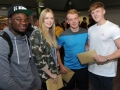 Pictured from left are Manuel Agyemang who will study forensic science at De Montfort, Carla Spencley who is to Lincoln to study history, Joshua Lawrence who is also heading to De Montfort for criminology and Matthew Day who is looking at a law apprenticeship. Spalding Grammar School A Level results.
