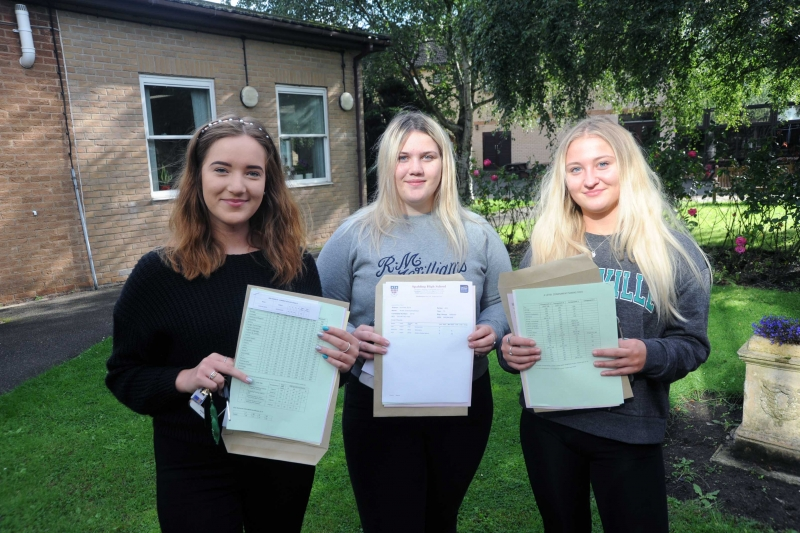 Zofia Blasko (left) and Airida Zitkeviciute (right) are heading to Nottingham Trent University to psychology while Rosie Parkinson is to start an apprenticeship