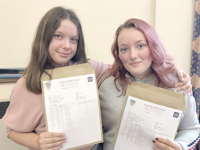 Twins Emma (left) and Charlotte Chiverton were set to celebrate their excellent results with a Chinese. Spalding High School GCSE Results Day 2018