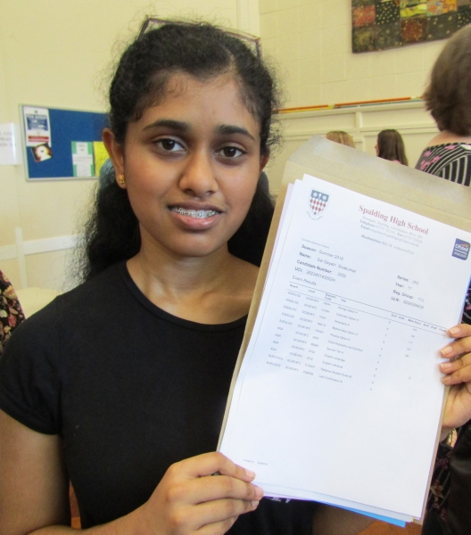 Sai Gayatroi Sivakumar would one day like to do something with medicine or neuroscience after earning four nines and six eights. Spalding High School GCSE Results Day 2018