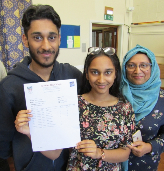 Arpa Jahan is going to do A Levels in biology, chemistry and maths as she looks to eventually take up a career in medicine. She's pictured here with proud mum Rahay Ahamed and brother Manazir Ahamaed. Spalding High School GCSE Results Day 2018