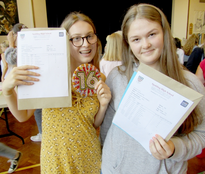 It really was sweet 16th birthday for Ellie Blackbourn (left) as she learned she has earned three nines and an eight on her birthday. Kloe Fisher-Williams picked up four nines and like Ellie will be stopping on to do A Levels. Spalding High School GCSE Results Day 2018