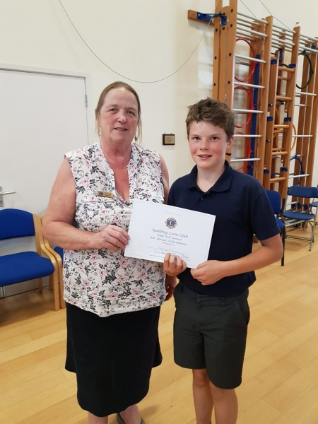 George Morris of St Norbert's School with Lion Elaine Robson