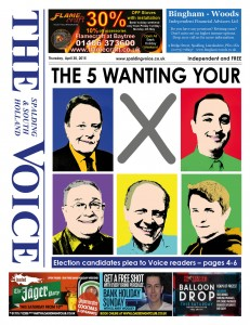 'Award': The Voice front page on April 30 featured the five South Holland and The Deepings MP candidates.