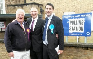 Getting together at a polling station in Westlode Street, Spalding, are (from left) Pete Williams – who became the first UKIP member elected to South Holland District Council – and Spalding Castle candidates Mark Le Sage (Independent) and Gary Taylor (Conservative), who retained the seat.