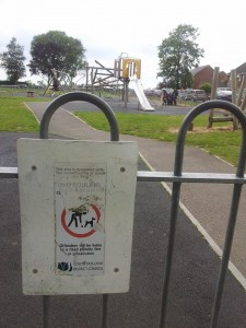 "One of the signs at Monkhouse Play Area in Spalding. It reads: ""No fouling. Clean up after your dog."" Ward district councillor Angela Newton wants play area signs to say ""no dogs""."