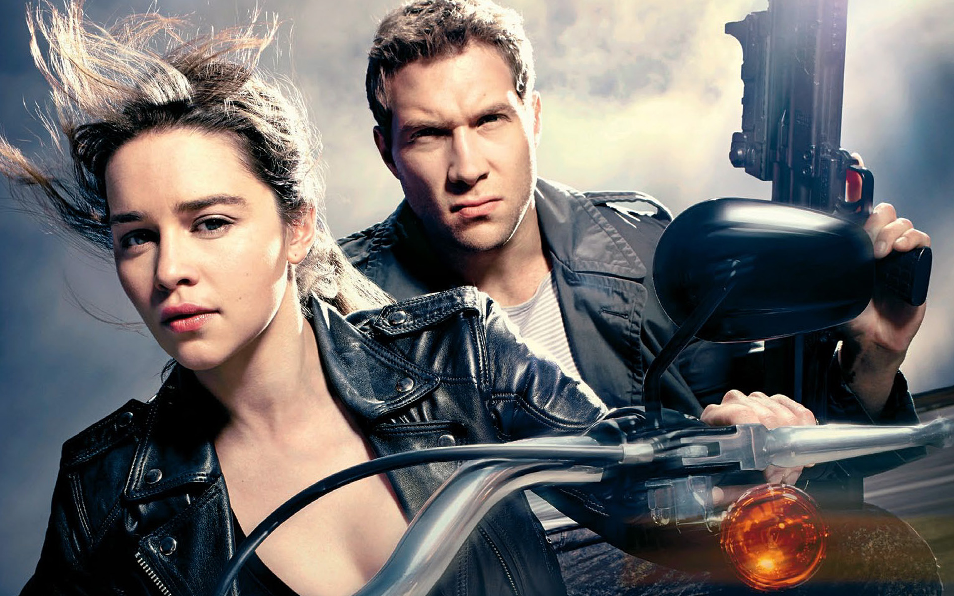 OLD COUPLE, NEW FACES: Emilia Clarke and Jai Courtney as Sarah Connor and Kyle Reese.