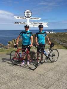 Ashley Caress (left) and Ollie Maltby at the start of their 900-mile ride.